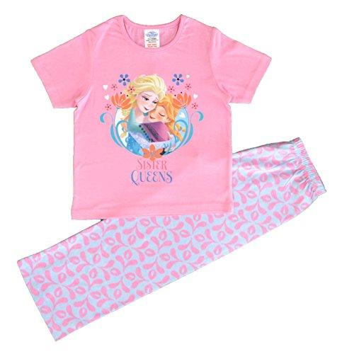 Girls-Disney-Frozen-Anna-and-Elsa-Short-Sleeve-Pink-Pyjamas-Sizes-5-to-10-Years