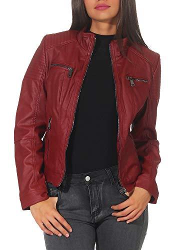 Malito Damen Jacke | Kunstleder Jacke | Jacke mit Zipper | lässige Bikerjacke - Sakko - Jackett 5179 (Bordeaux, L)