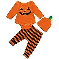 Infantil Disfraz Halloween Fossen Recien Nacido Niña Niño Bebe Monos de Calabaza  Tops con Sombrero de d2cb5f81a0af