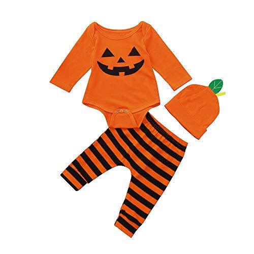 Infantil Disfraz Halloween Fossen Recien Nacido Niña Niño Bebe Monos de Calabaza Tops con Sombrero de Raya + Sombrero (0-6 Meses, Naranja)