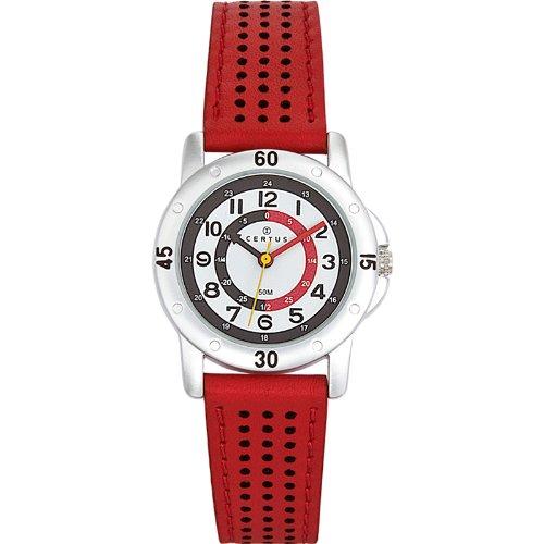 Certus–647493–Zeigt Kinder–Quartz pdagogique–Weißes Ziffernblatt–Armband, Rot
