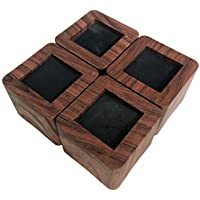 Ezprotekt 5cm Lift Furniture Risers Carbon Steel Bed Risers Diameter 8cm Self-Adhesive Heavy Duty Furniture Raisers Adds 5 cm Height to Beds Sofas Cabinets Round Brown Supports 20,000 lbs