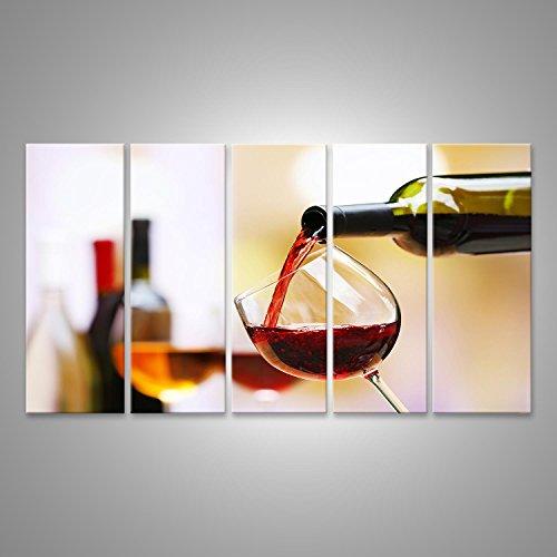 Bild Bilder auf Leinwand XXL Bild Poster Leinwandbild Wandbilder Kunstdruck 5-teilig BMI Rotwein aus der Flasche eingeschenkt