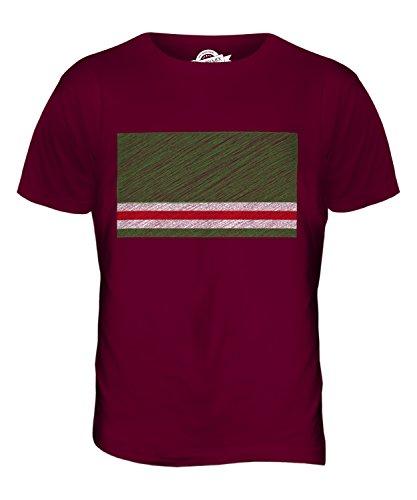 CandyMix Tschetschenische Republik Itschkerien Kritzelte Flagge Herren T Shirt Burgunderrot
