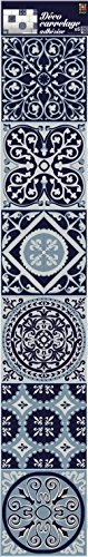 Plage Smooth - Tiles Fliesen Sticker Zementfliesen Grau Blau-AZULEJOS[6 Bogen 15 x 15 cm], Vinyl, Grey 15 x 0,1 x 15 cm