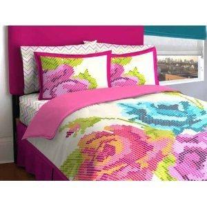 Idea Nuova LOFT Living Pixel Flower Bed in a Bag, Baumwolle, Volle Größe -