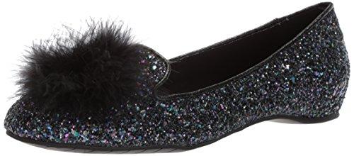 Kenneth Cole REACTION Women's Gen-ie Bottle Glitter Ballet Flat with Feather Pom, Black/Multi, 11 Medium US -