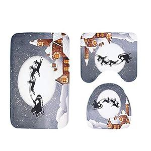 OUNONA 3 STÜCKE Weihnachten Badezimmer Teppich Set Rutschfeste Sockel Teppich Deckel WC-Sitz Deckel Badematte Set