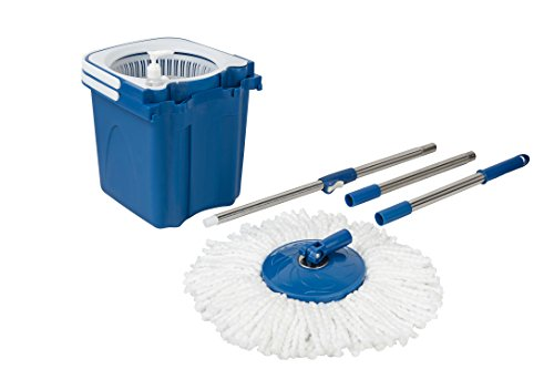 Gala Twin Bucket Spin Mop with 2 refills and 1 liquid dispenser (Blue)