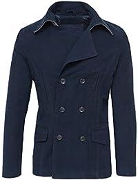 AK collezioni Giacca Cappotto Uomo Blu Scuro Invernale Slim Fit Giubbino  Casual Formale e9cfa029a4c