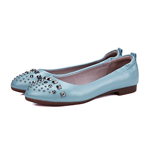 AllhqFashion Femme Rond Tire Pu Cuir Mosaïque à Talon Bas Chaussures à Plat Bleu
