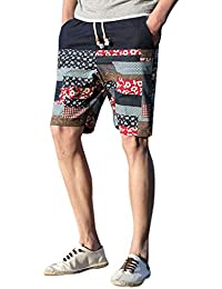 ab2be883ea24 Wojin Men Linen Shorts Drawstring Hand Pockets Soft Breathable Boardshorts