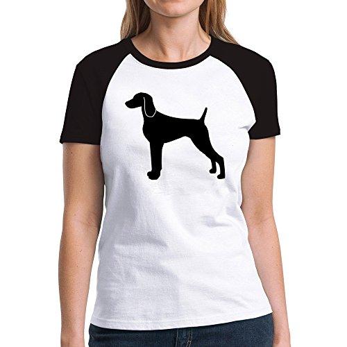Eddany Weimaraner silhouette Damen Raglan T-Shirt -