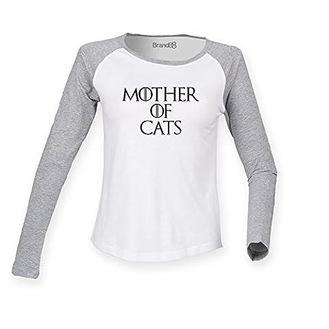 Mother Of Cats, Ladies Long Sleeve Baseball T-Shirt - White & Heather Grey/Black S (UK Size 10)