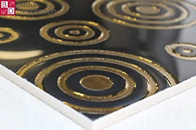 1 Matte Wandfliesen Fliesen Keramik Glänzend Glasiert Schwarz Gold 30x30 8mm neu von Bador auf TapetenShop