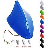WOLTU Antena universal para coche antena de techo antena de tiburón AM & FM Azul Brillante AT7028bl