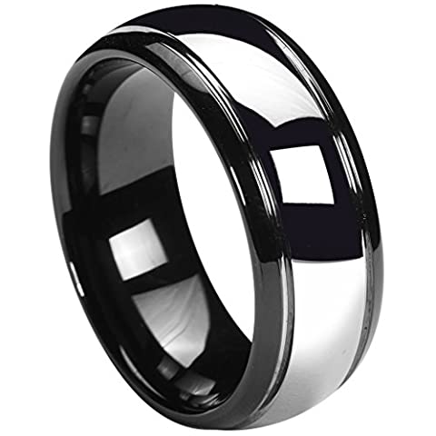 Queenwish 8MM Tungsten Carbide Wedding Band Black Silver Dome Gunmetal Bridal Ring Men Jewelry