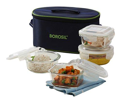 Borosil Microwavable Borosilicate Glass Klip N Store Tiffin Box, 320ml...