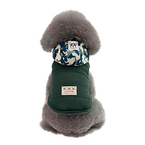 Amphia - Camouflage Hut Baumwolle Mantel Hund Kleidung Herbst und Winter Modelle,Hündchen Haustier Hund Katze Kleider Winter Warm Sweatshirt Mantel Kostüm Bekleidung(Grün,L) (Die Katze Im Hut Weibliche Kostüm)