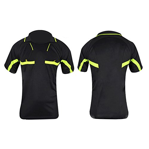 Etbotu Atmungsaktives, schnelltrocknendes Fußballbekleidung Set Kurzarm T Shirt Shorts Schiedsrichter Kleidung Professionelles Fußballspiel Trikot Umgedrehter Kragen Sportbekleidung