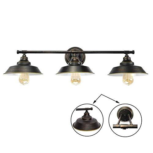 Aplique de Baño LED E27 Lámpara de Pared Antigua Vintage, Baños Luces del Espejo 3 Luminarias Montaje...