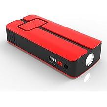 MAXOAK 11000mAh 5V/12V/20V Multi-función Arrancador de Baterías de Emergencia para Baterías de Automóvil y Barco de 12V con Linterna LED Integrada para SOS, Jumper Cable, Adaptador,sos,Cargador de Batería Externo Power Bank para Smartphones, Tablets, Portátiles y Otros Dispositivos Digitales-Rojo