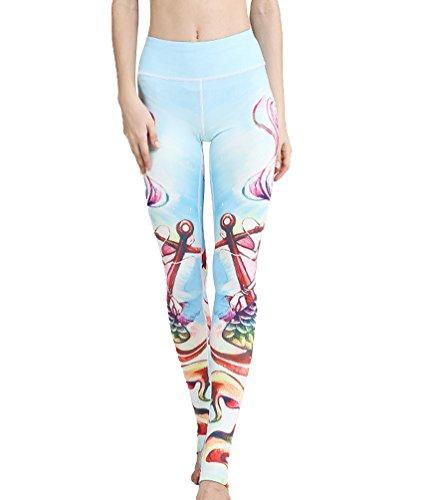 LINNUO Femme Sport Fitness Yoga Pantalon Imprimé Running Gym Leggings Pantalons DEtriers Slim Fit Style4