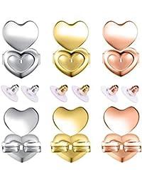 6 pares de levantadores de pendientes y pendientes ajustables hipoalergénicos con cierre de seguridad para pendientes de gota y soporte para lóbulo de oreja pesado.