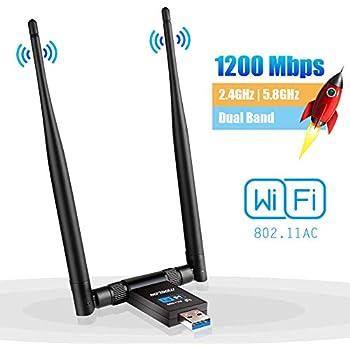 Clé WiFi Dongle Adaptateur USB sans Fil AC 1200Mbps Double Bande  2 4GHz/300Mbps 5GHz/867Mbps Double 5dBi Réseau Antennes pour PC Windows
