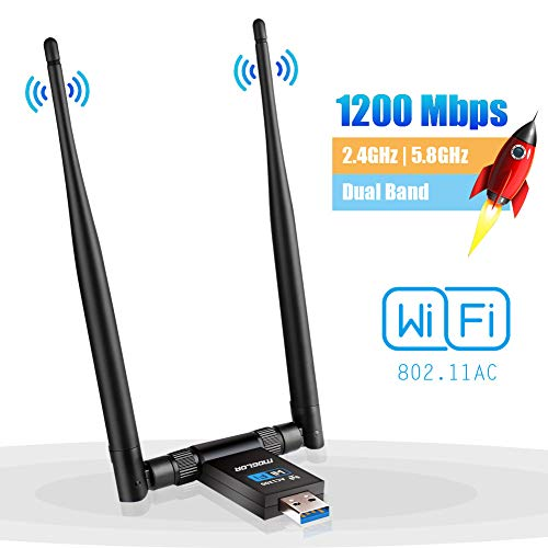 Adaptador Antena WiFi USB 3.0 Dongle Receptor Inalámbrico 1200Mbps Doble Banda 5GHz/867Mbps 2.4GHz/300Mbps Dual 5dBi para PC/Desktop/Laptop Windows XP/Vista/7/8/10 Linux MAC OS