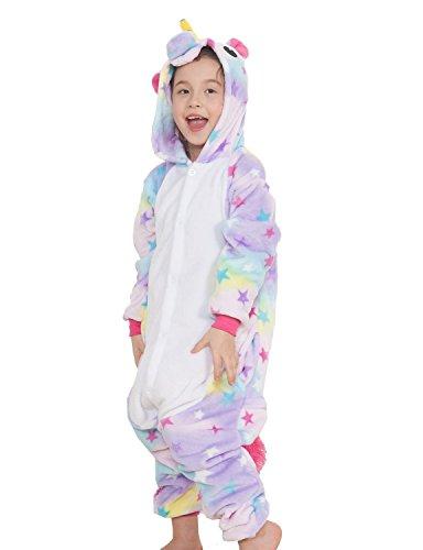 Kenmont Kinder Unisex Tierkostüm Cosplay Anzug Einhorn Pyjama Nacht Kleidung Abendkleidung Gr. Taille115 cm, Stern -