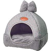 TianBin Moda Plegable Nido de Mascotas Otoño e Invierno Cerrado Perrera Hay un Arco en Top (Gris#1, M)