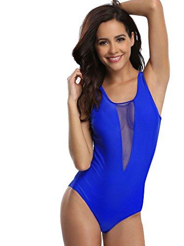 BeautyIn Damen Figurformende Bademode Push up Neckholder Einteiler Ruched Badeanzug Schwimmanzug Shine Serie Blau