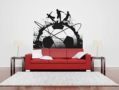 (Finloveg Große Tinte Fußball Kunst Aufkleber Fußball Spiel Spieler Ball Sport Wand Vinyl Aufkleber Kinder Mädchen Jungen Schlafzimmer Kopfteil Wandbilder 71X51 Cm)