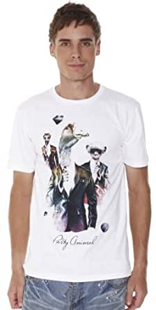 Retreez Funny Party Animal Graphic Printed Men's T-shirt - White - Large