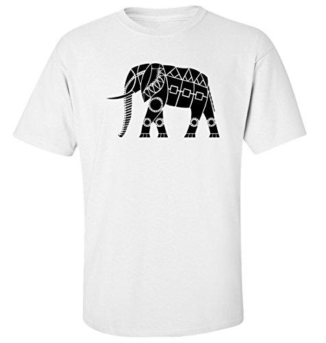 Elefant ethnisch Stil talisman t-shirt herren baumwoll weiss (S)