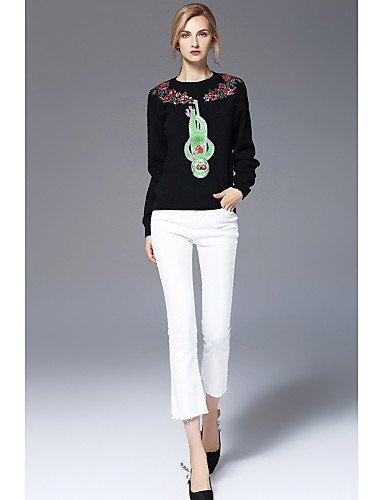 Xuanku FRMZ Women's Casual/Daily Cute Regular Pullover,Print Round Neck Long Sleeves Rayon Fall Medium Micro-elastic