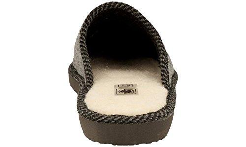 RBJ Pantofole Da Uomo Calzature Adulto Inverno Autunno Pelle di Pecora 100% Eleganti Lussuose Morbide Confezione Regalo Grigio 905