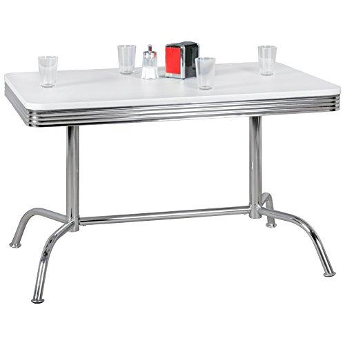 Wohnling Elvis - American Diner Esstisch, 120 x 76 x 80 cm aus MDF/Aluminium, Robuster Bistro-Tisch im Stil der 50er Jahre, Esszimmertisch mit Untergestell aus verchromtem Alu, weiß/silber (Tisch 50er Diner)