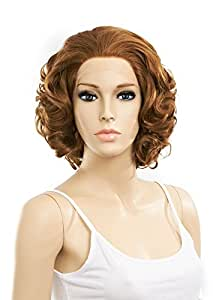 SETPRETTYXG Elegant Short Curly Ginger Blonde Synthetic Lace Front Wig Maryln Monre Wig