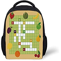 "Kids School Backpack Word Search Puzzle Stylish,Vivid Graphic Summer Fruits with Educational Crossword Game for Kids Decorative for School Travel,9.4""L x 3.5""W x 12.2""H"