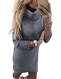 Yidarton Robe Pull Femme Manches Longues Robe d Hiver en Tricot Elegant ad6a9f25960e