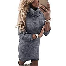 d291006ea833 Yidarton Robe Pull Femme Manches Longues Robe d Hiver en Tricot Elegant