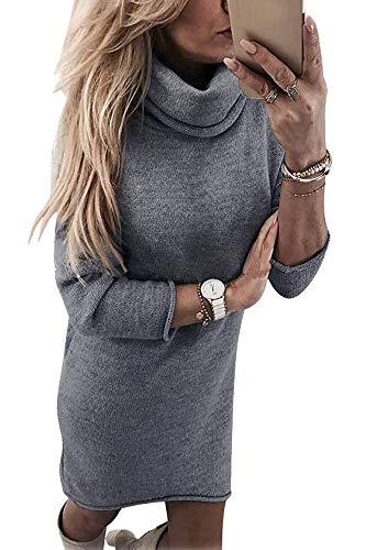 Yidarton Winter Damen Pullover Sweater Strickkleid Warm Elegant Langarm Strickpullover Lang (Small, Z-Grau)