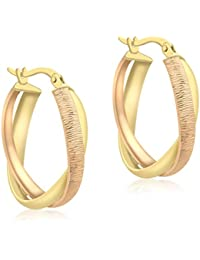 Carissima Gold 9 ct 2 Colour Gold Diamond Cut Double Oval Creole Earrings