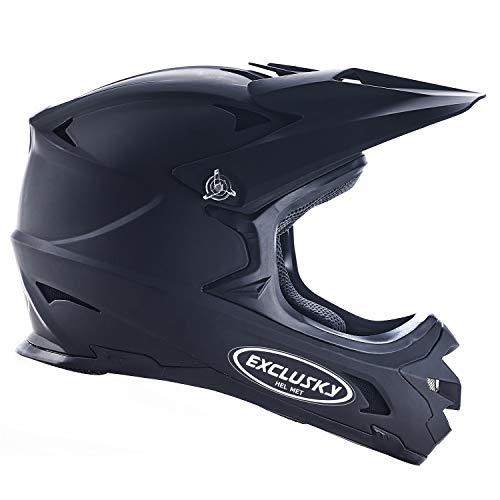 Exclusky BMX Downhill Casques, Casque Intégraux Adulte Nero (Noir, Medium(57-58cm))