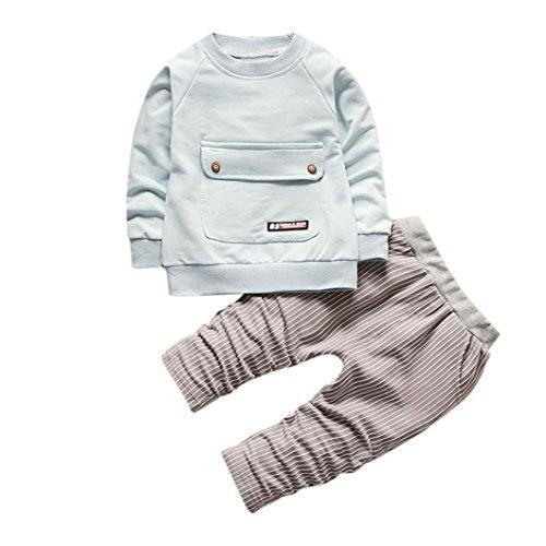 Kobay Kleinkind Kinder Baby Jungen Mädchen Outfits T-shirt Tops + Streifen Lange Hosen Kleidung Set (90 / 2Jahr, Hellblau)