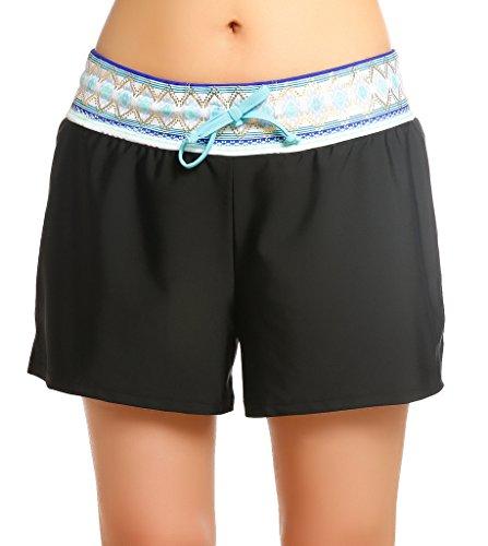 OUO Damen UV Schutz Badeshorts Schwimmen Bikinihose Wassersport  Schwimmshorts Boardshorts Schwarz mit Blau Größe M 1510e47161
