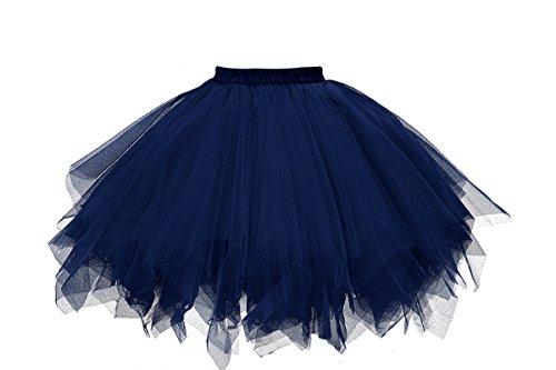 MuseverBrand 50er Vintage Ballet Blase Firt Tulle Petticoat Puffy Tutu Navy XX-Large/XXX-Large