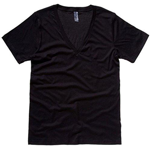 Bella+Canvas Unisex Jersey Deep V-Neck T-Shirt Gr. S, schwarz -